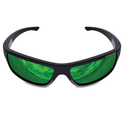 Charlie V – Black Sunglasses, Green Reflective Lens – Made in USA-yourzmart