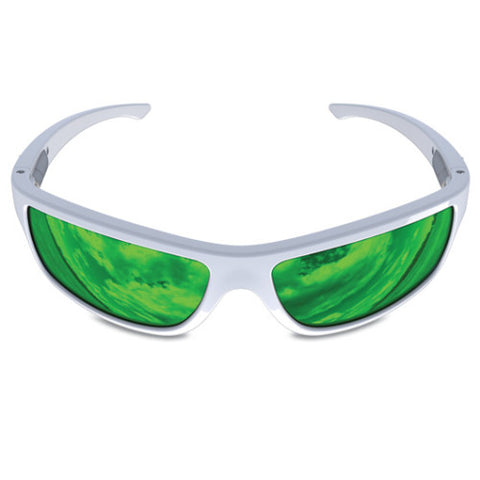 Charlie V – White Sunglasses, Green Reflective Lens – Made in USA-yourzmart