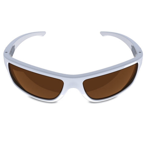 Charlie V – White Sunglasses, Smoked Brown Lens – Made in USA-yourzmart