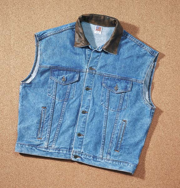 Embossed Denim And Leather Vest blue (W41)(Made to order shipping time may vary)-yourzmart