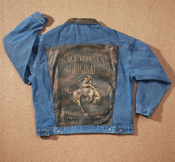 Embossed Denim And Leather Jacket blue (W61)(Made to order shipping time may vary)-yourzmart