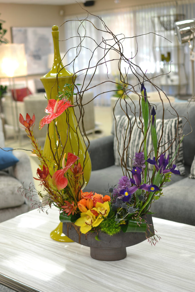 Eclectic floral gradient, reaching curly willow, Arakawa designer container