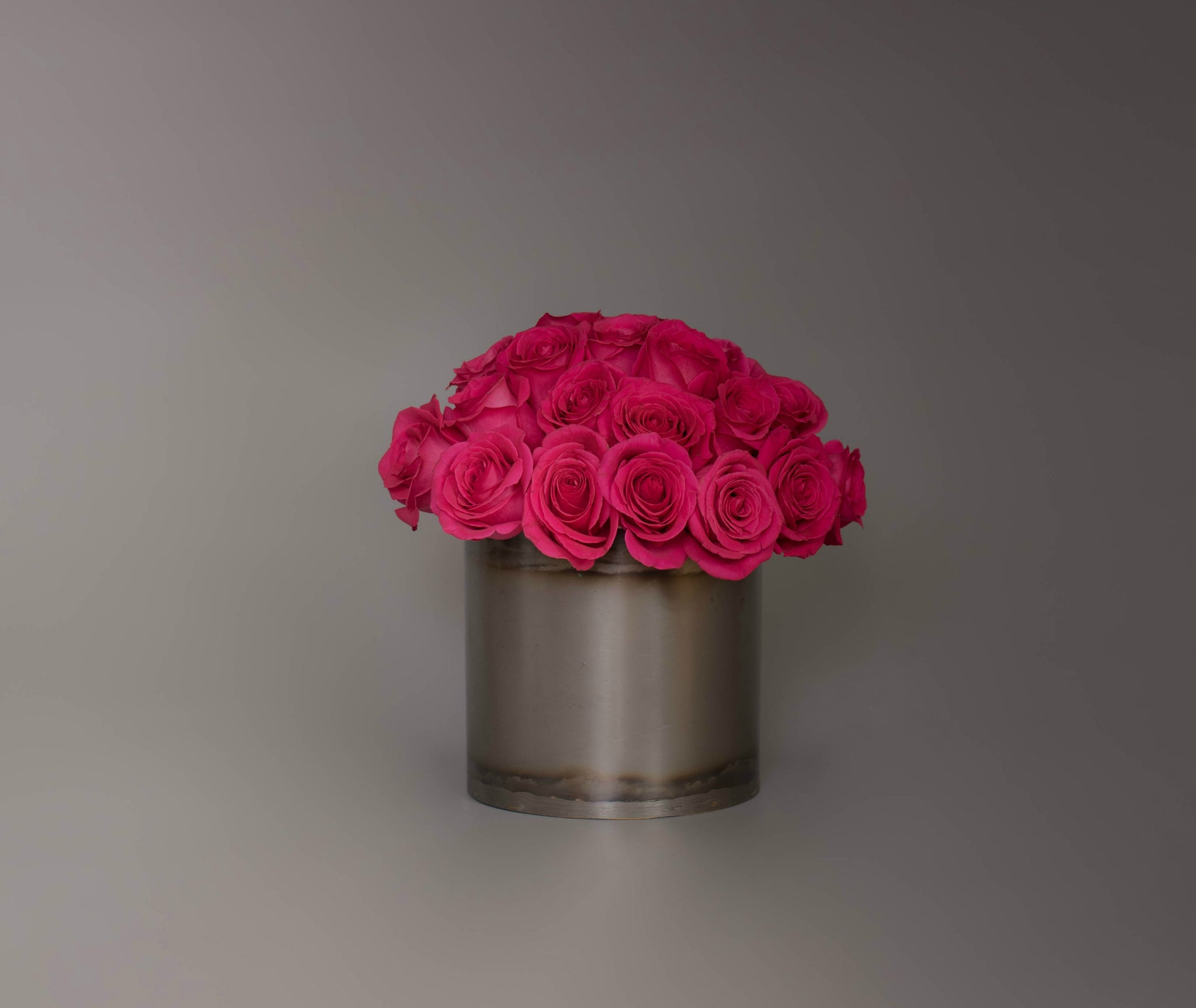 Lush Rose Dome in Oxidized Metal Container