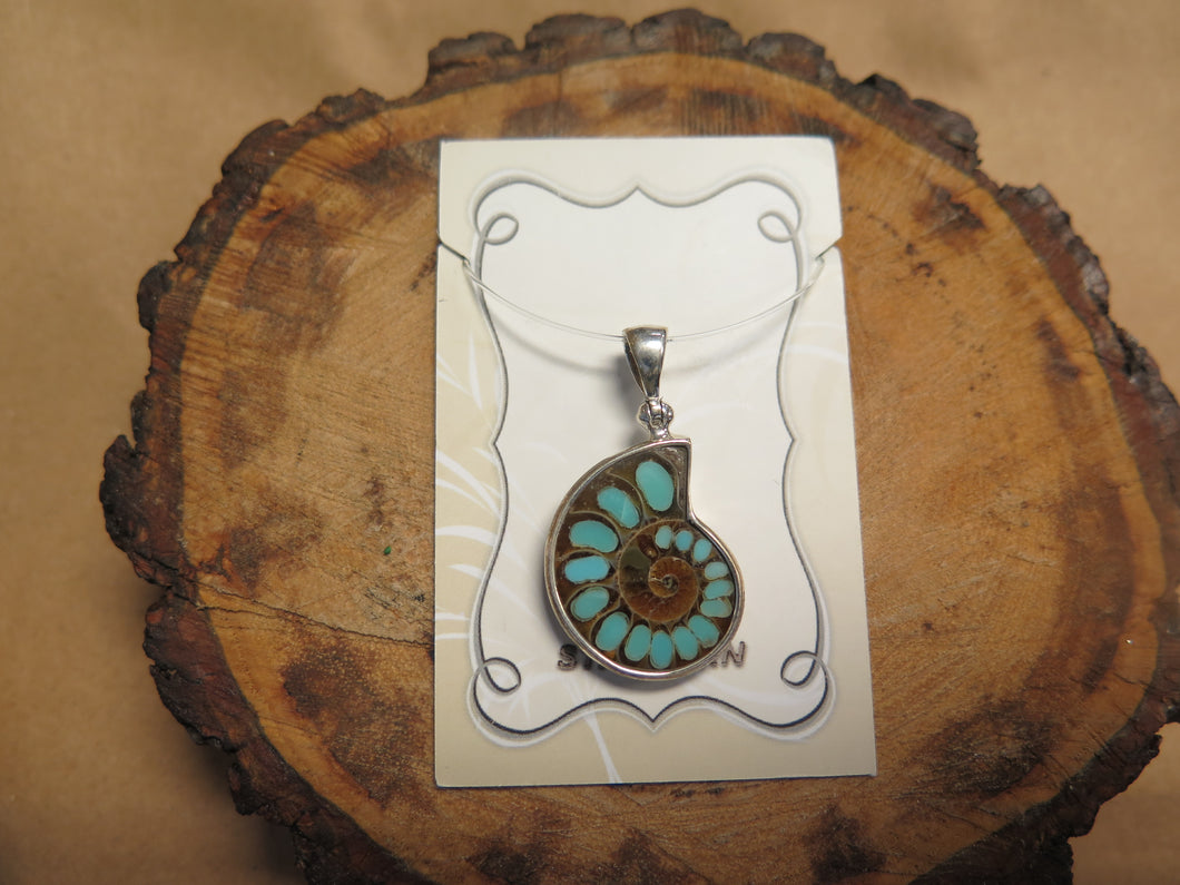 Ammonite with Turquoise inlay Pendant