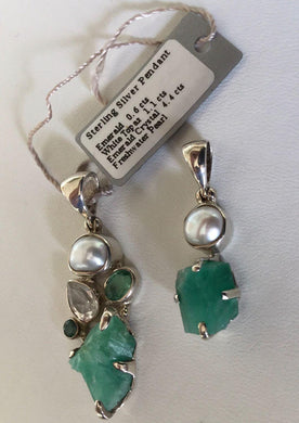 Fresh Water Pearl and rough Emerald crystal set