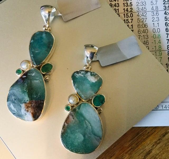 Aqua Chalcedony Rough Cabochons bezel set in Sterling Silver with Emerald faceted ovals and Topaz & Fresh Water Pearl Pendants