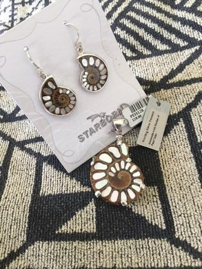 Fossil Ammonite Inlay with Mother -of-Pearl Earrings $98.00, Pendant $128.00
