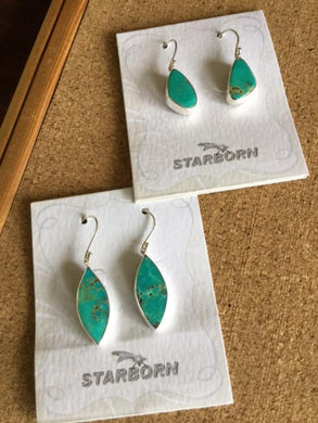 Natural Kazakhstan teal Turquoise Earrings
