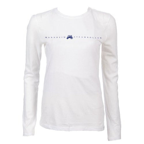 Ladies White Mannheim Steamroller Long Sleeved Logo T-shirt