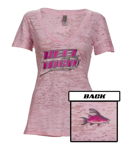 Pink Hogfish on Pink Burnout V Neck - ReelHigh