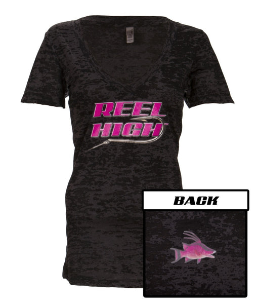 Pink Hogfish on Black Burnout V Neck - ReelHigh