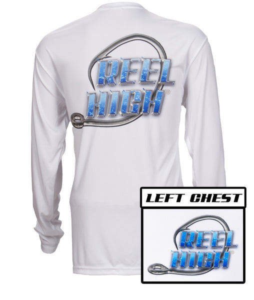 UPF50-Performance Microfiber-Long Sleeve-Blue Bubble Hook - White - ReelHigh - 1
