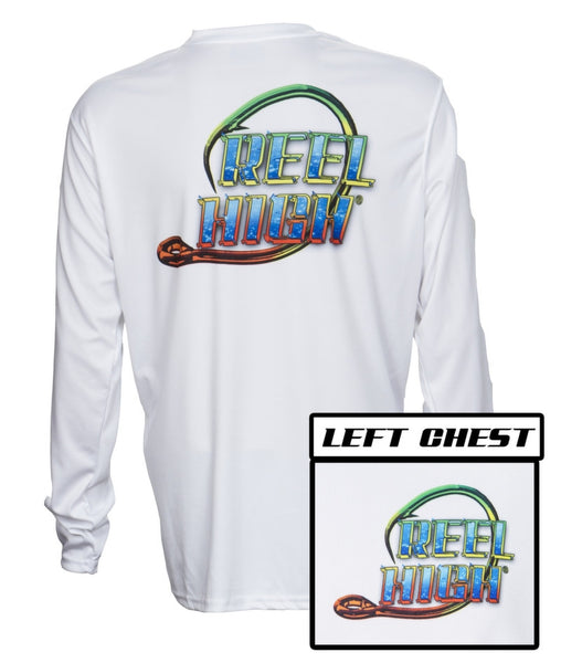 UPF50-Performance Microfiber-Long Sleeve-Rasta Hook - White - ReelHigh - 1