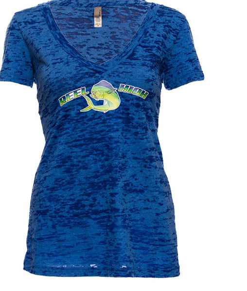 Dolphin Blue Burnout V Neck - ReelHigh