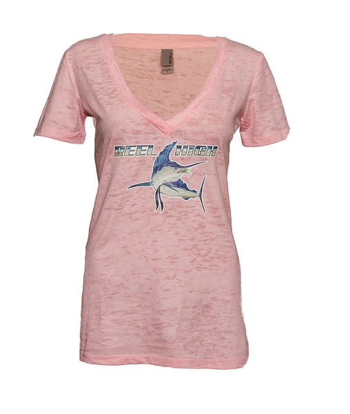 Marlin Pink Burnout V Neck