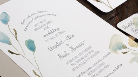 Watercolor Soft Floral Letterpress Invitation