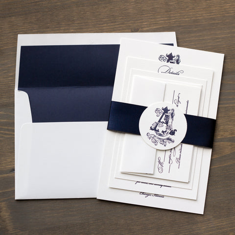 Custom Monogram Letterpress Navy Invitation
