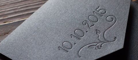 Blind Letterpress Black Wedding Invitation Enclosure