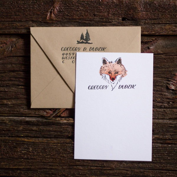 Personalized fox stationery letterpress watercolor