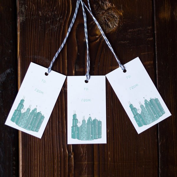 Chicago Snow Gift Tags