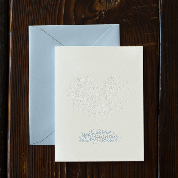 Blind Letterpress Holiday Snow Card
