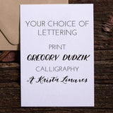 Custom Stationery Lettering Choices