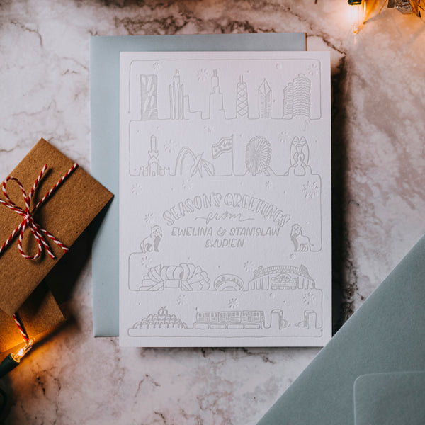 Chicago Landmarks Personalized Holiday Cards