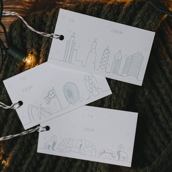 Chicago Landmarks Holiday Gift Tags