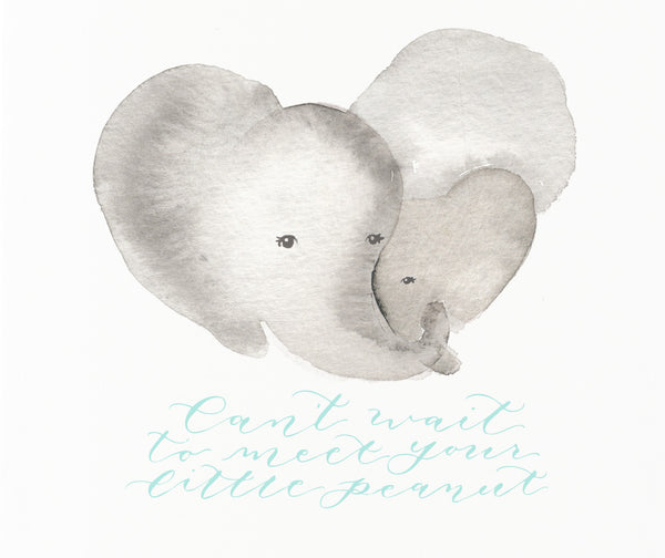 little peanut new baby card design by angelika
