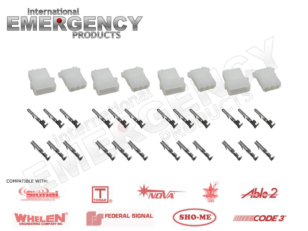 4 Sets 3-pin Connectors for Strobe AMP Power Supplies, Bulbs & Cables for Whelen Federal Code3