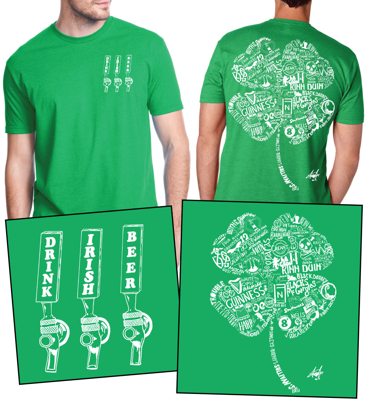 """Drink Irish Beer"" Shamrock Tee"