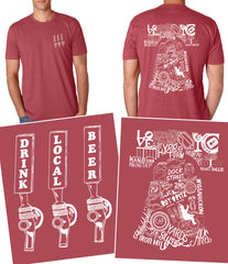 """Drink Local Beer"" Philly Brewery Red Tee"