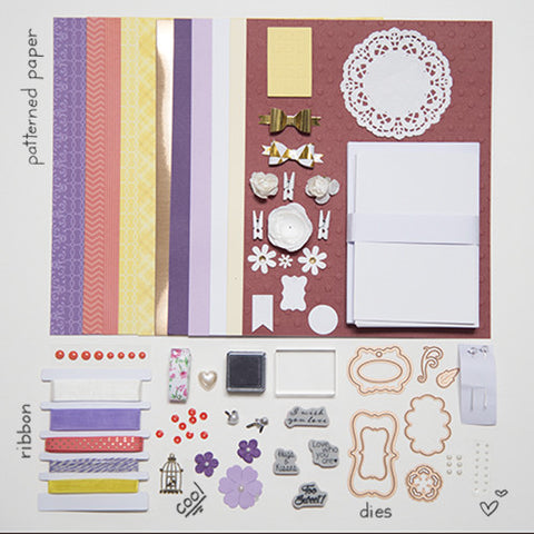 Yellow, Purple, & Coral Cool & Crisp Card Kit (KOM-009)