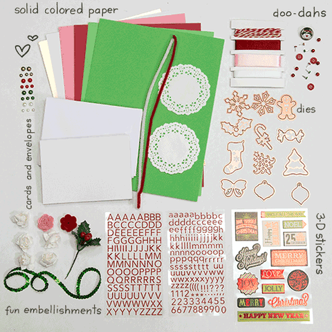 Blue, Red, Pink, & Green Bright Card Kit (KOM-008)