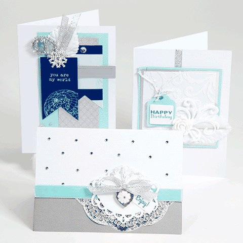 Blue, Navy & Silver Card Making Kit (KOM-002)
