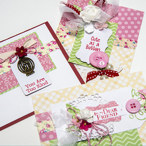 Peach, Pink, & Green Cute as a Button Card Kit (KOM-SEP16)