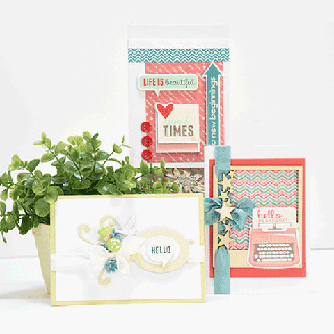 Red, Teal, & Lime Spring Themed Card Kit (KOM-005)