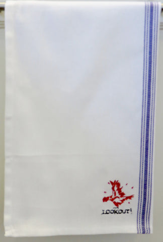 LOOKOUT! Embroidered Chicken Tea Towel