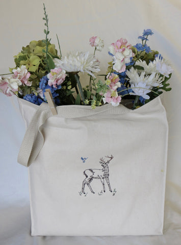 Organic Cotton Grocery Bag Embroided Deer - Stag