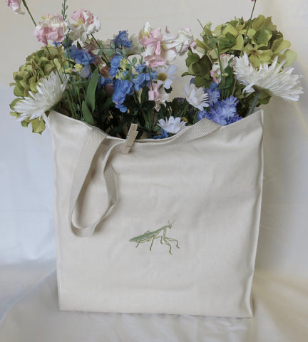 Organic Cotton Grocery Bag Embroidered Praying Mantis