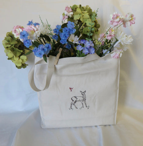 Organic Cotton Grocery Bag Embroidered Deer-Doe