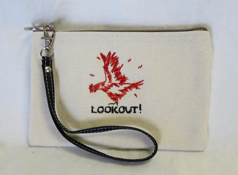 LOOKOUT! Embroidered Chicken Canvas Wallet