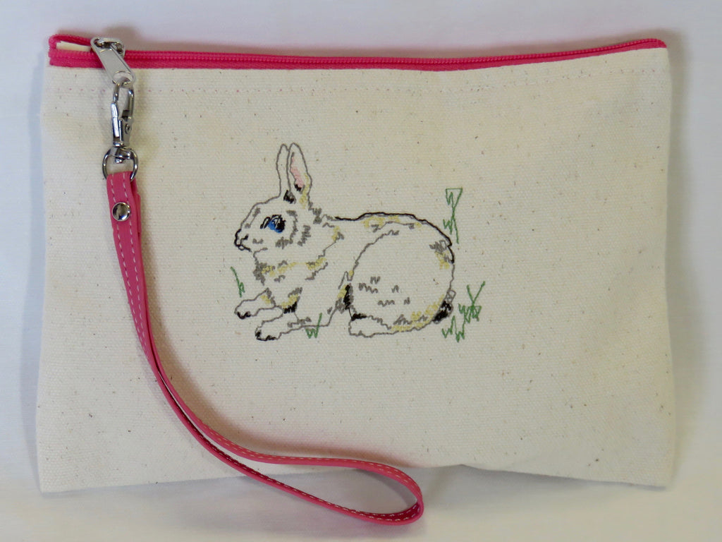 Embroidered Bunny Wallet w/Pink Zipper