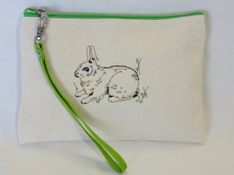Embroidered Bunny Wallet w/Green Zipper