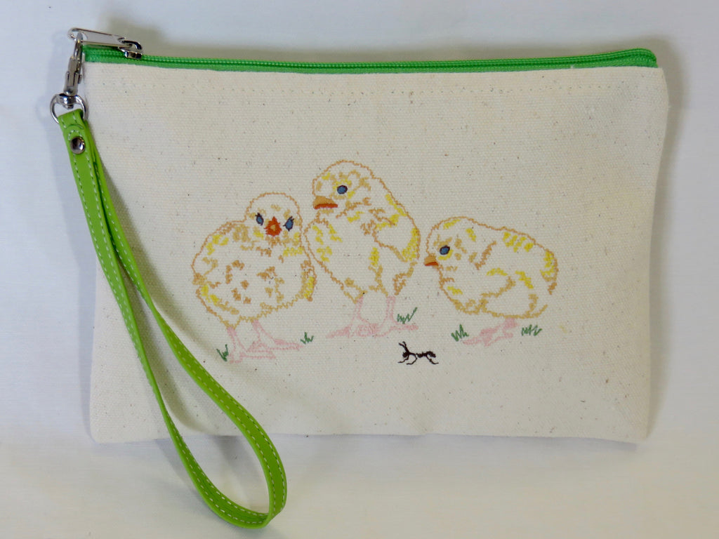 Embroidered Spring Chicken Wallet w/Green Zipper