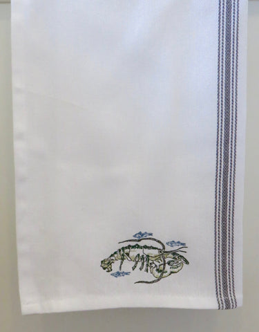 Embroidered Green Lobster Cotton Tea Towel- In the sea