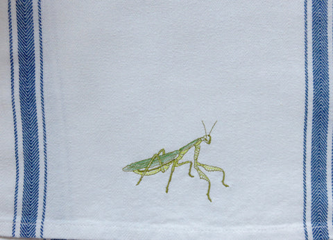 Embroidered Praying Mantis Tea Towel