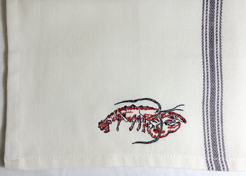Embroidered Red Lobster Cotton Tea Towel-Cooked