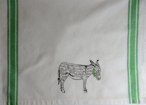 Embroidered Donkey Tea Towel