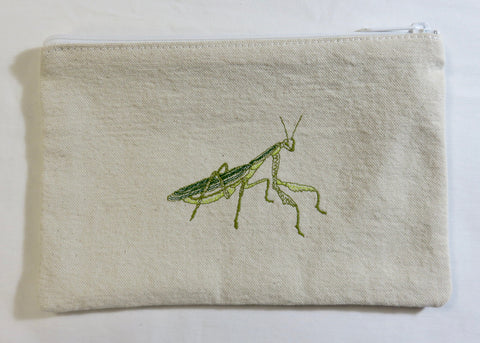 Embroidered Praying Mantis: Cotton Canvas Wallet